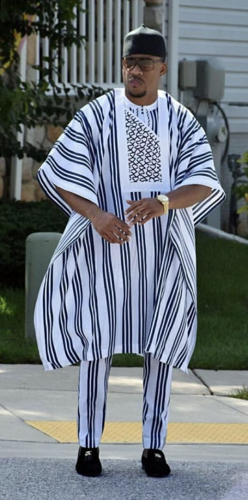 Agbada outfit with cap