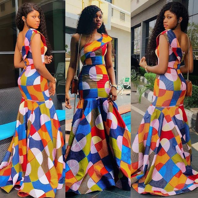 off-shoulder long gown ankara style