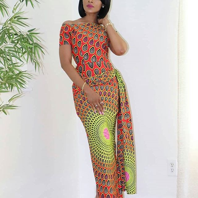 lovely fitted ankara style gown