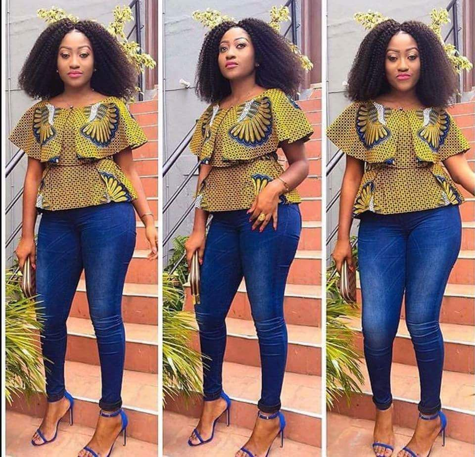 latest ankara top on jeans