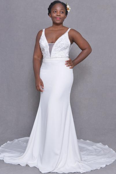 latest bride crepe dress
