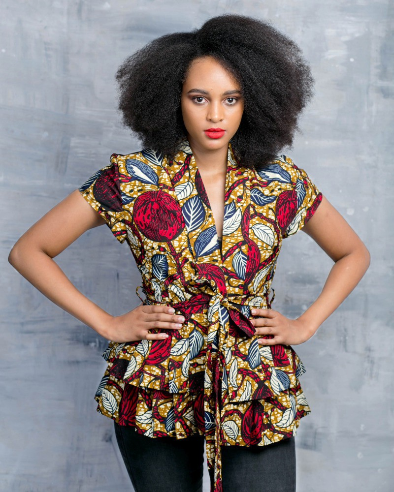 Ankara wrap blouse