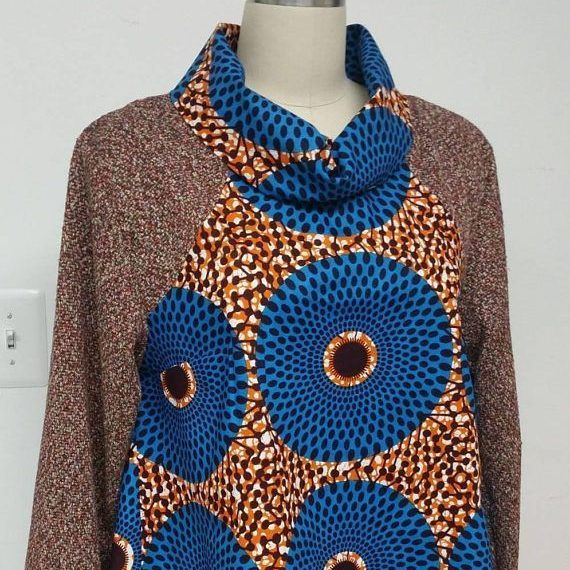 Ankara cowl neck dress