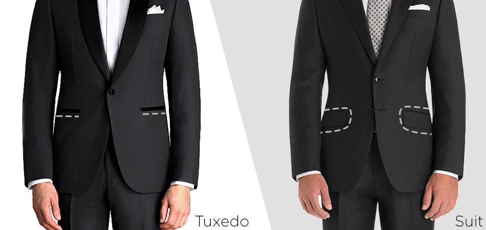 tuxedo vs suit pocket